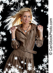 dancing blond in brown dress with snowflakes