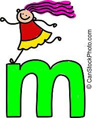 letter M girl - happy little girl climbing over giant letter...