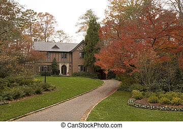 Brick Tudor in Fall - A nice old house in tudor style in the...