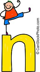 letter N boy - happy little boy climbing over giant letter N...