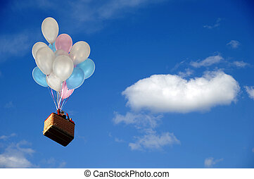 Balloons and basket - Helium balloons is lifting basket with...