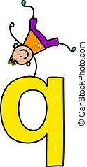 letter Q boy - happy little boy balancing on top of giant...