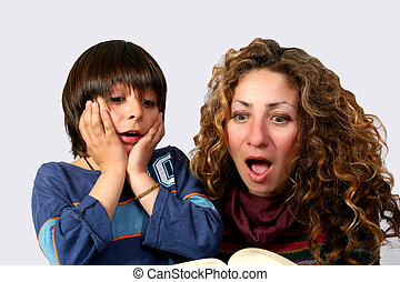 Horror Story - Digital photo of a mother and her son reading...