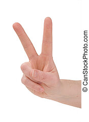 Peace sign hand - hand giving the peace sign over white