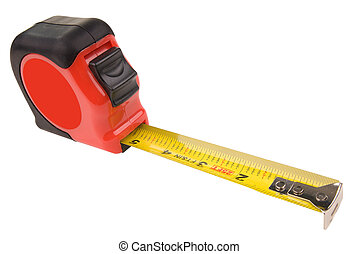Tape measure - tape measure over white with a clipping path