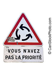 Roundabout traffic sign - Give way at roundabout french...