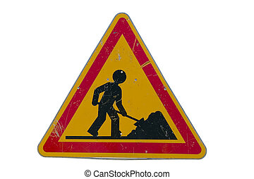 Road works sign - Road works traffic sign; isolated on white