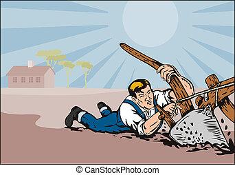 Farmer being dragged - Illustration on farming