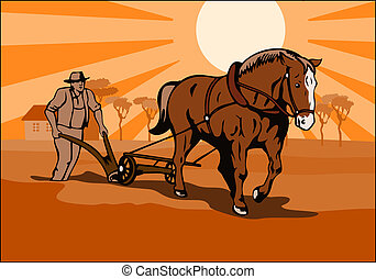 Farmer plowing - Illustration on farming