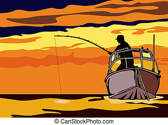 Fishing in the sunse - Illustration on fishing