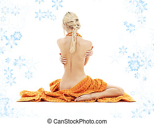 beautiful lady with orange towels and snowflakes 2 -...