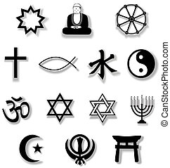 Religion Symbols with Drop Shadows - Drop shadows add depth...