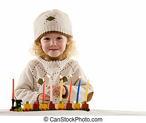 Happy Hanukkah - Young blond hair three year old boy...