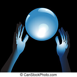 Crystal Ball Future in Hands - Hands reach for a shiny,...