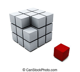 Individuality - 3D render of a cube of blocks with one red...