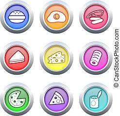 food buttons - collection of very colourful fast food...