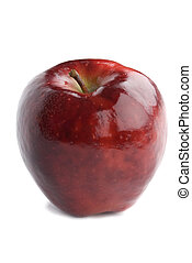 red apple - isolated on white background, focus point stick