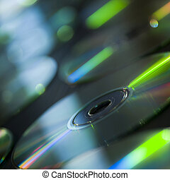 group of compact discs on table - studio shot of a group of...