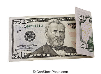fifty dollars - bill isolated on a white background