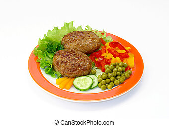 Cutlets & vegetables - Cutlets in a plate with vegetables