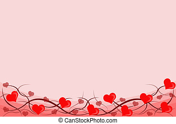 Valentines background - Plenty of red hearts on a pink...