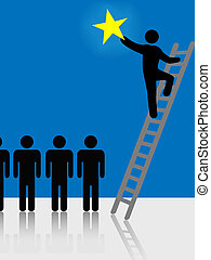People Climb Ladder Rising Star Symbol - Person climbs a...