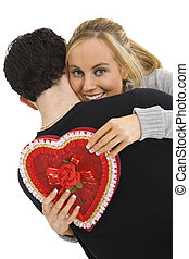 Couples - Studio photograph of young Caucasian couple posing...