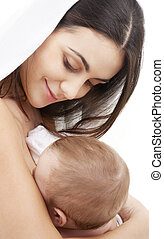madonna - picture of happy mother with baby over white