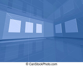 Virtual 3d gallery - Blue interior space with blank frames
