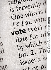 """Vote - Selective focus on the word \\\""""vote\\\"""". Many more..."""