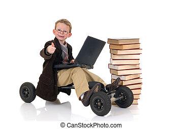 prodígio, surfando, biblioteca,  Internet