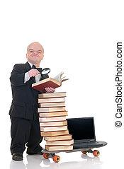 Internet, biblioteca, anão, surfando