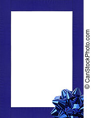 Blue Frame - Blue Gift wrapping bow and ribbon isolated on...