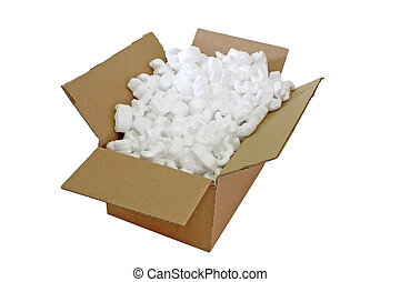 Parcel - Closeup of a cardboard box with packing styrofoam...
