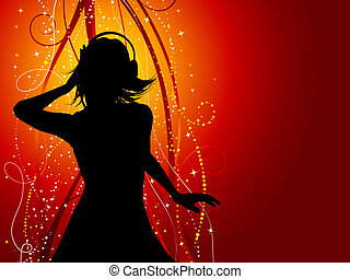 music female - Silhouette of a sexy female listening to...