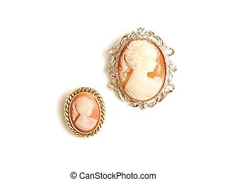 Antique cameo brooch. - Two cameo brooch with silver around,...