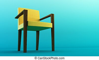 modern chair 3d rendering - modern yellow chair 3D rendering