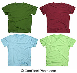 Blank t-shirts 3 - Photograph of four blank t-shirts,...
