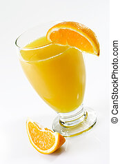 Orang Juice with Orange - Glass of orange juice with garnish...