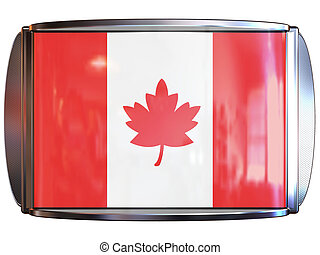 Flag to Canada - 3d scene icon with flag of the Canada