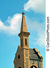 Church Steeple - An angle view of a uniquely designed church...