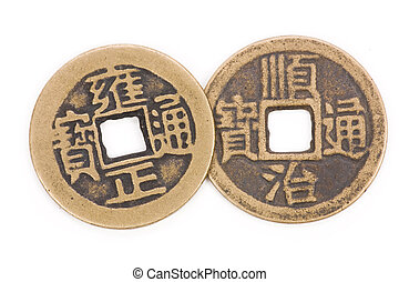 Antique chinese coins - Antique chinese money close up shot