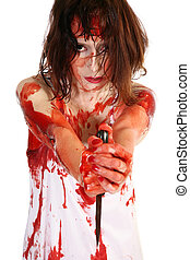 Psycho - Woman covered in blood holding knife.