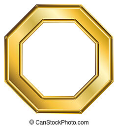 Frame Gold - Octagon 1 - Golden octagon frame. Digital...