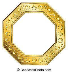 Frame Gold - Octagon 2 - Golden octagon frame. Digital...