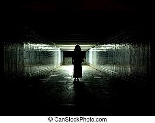 túnel, luz, Fim