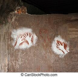 Australian Aboriginal art - In Australian Aboriginal cave...