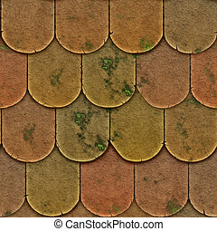 Tiles - A seamless pattern of roof tiles or shingles with...