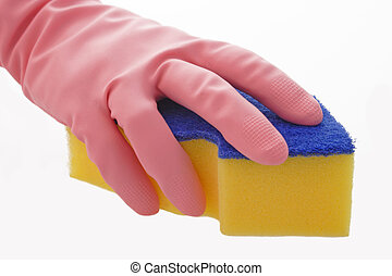 Sponge - Yellow Sponge with pink gloves