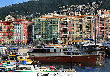 Port de Nice in French Riviera - Boats and yachts docked at...